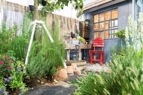 Jardin décoré avec des plantes