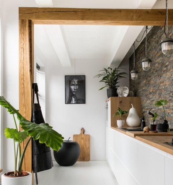cuisine avec bois et plantes
